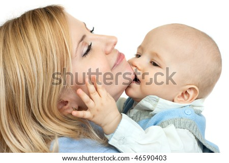 happy family: cute little boy kissing his mother - isolated on white background - stock photo