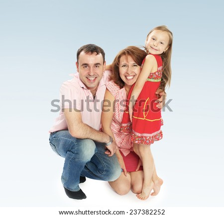 Happy family dad mom and daughter, the concept of family happiness. - stock photo