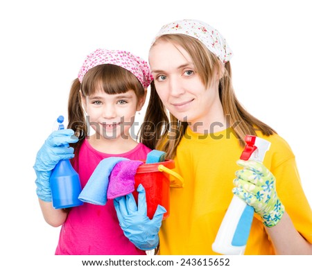 happy family do the cleaning. isolated on white background - stock photo