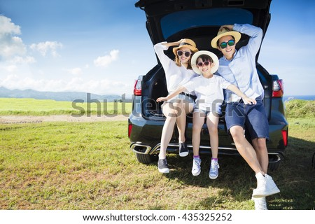 happy family enjoying road trip and summer vacation - stock photo