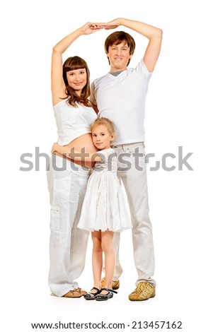 Happy family expecting one more baby. Full length portrait. Isolated over white. - stock photo