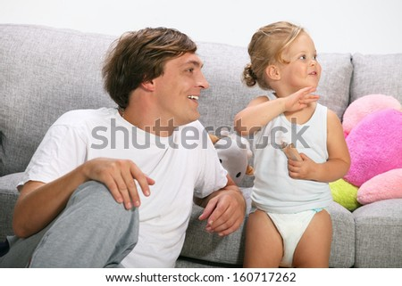 happy family, father and daughter playing - stock photo