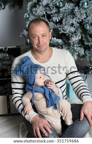 Happy family. Father and  his sweet  baby - stock photo