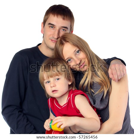 Happy family. Father, mother and child. Over white background