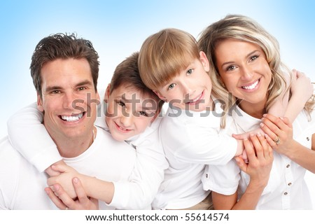 Happy family. Father, mother and children. Over blue background - stock photo