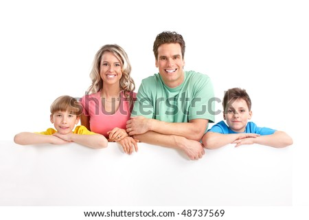 Happy family. Father, mother and children . Over white background - stock photo