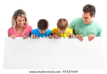 Happy family. Father, mother and children. . Over white background - stock photo