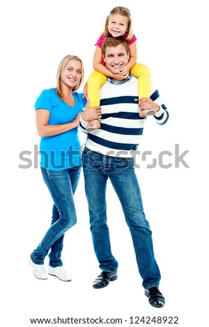 Happy family. Father, mother and girl over white - stock photo