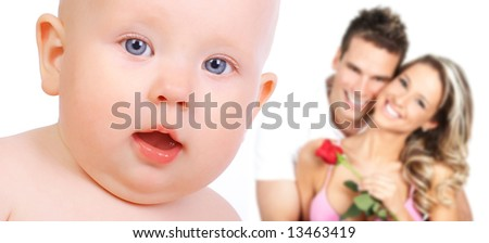 Happy family. Father, mother and little baby - stock photo