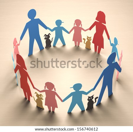 Happy family forming a circle of unity. - stock photo