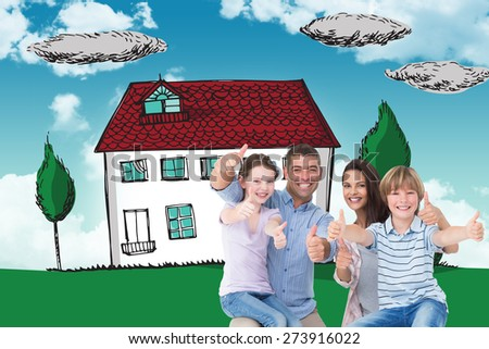 Happy family gesturing thumbs up against blue sky