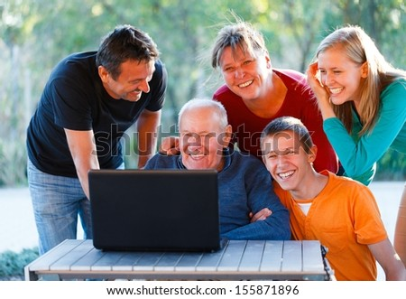 Happy family having a great time together. - stock photo