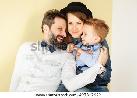 Happy family having fun together - stock photo