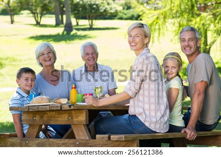 Happy family having picnic in the park on a sunny day - stock photo