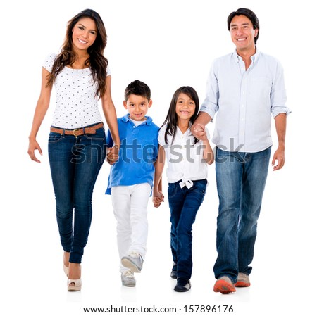 Happy family holding hands and walking - isolated over white background  - stock photo