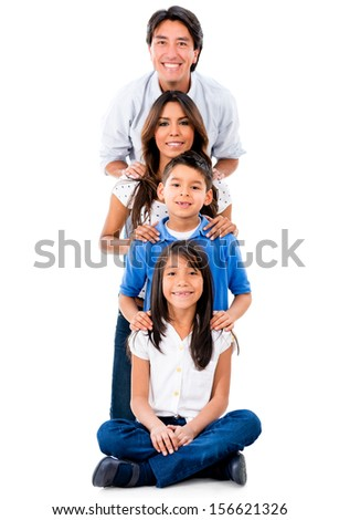 Happy family in a row smiling - isolated over white background  - stock photo