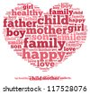 Happy Family info-text graphics and arrangement concept on white background (word cloud) - stock vector