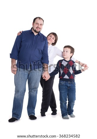Happy family isolated on a white background: mom, dad and son