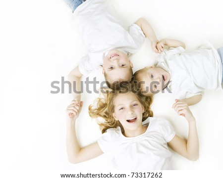 Happy Family. Kids over white background - stock photo