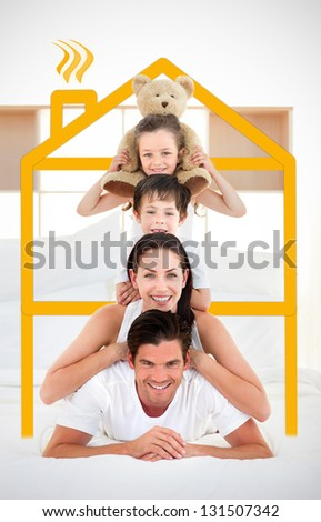 Happy family leaning on each others shoulders in bed with yellow house illustration framing them