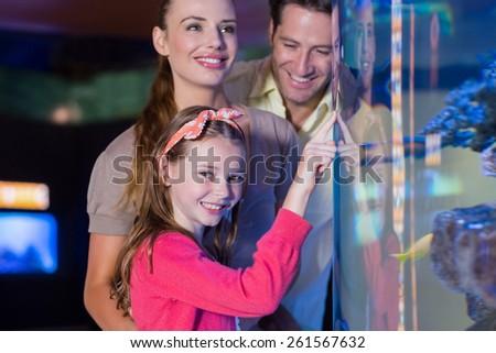 Happy family looking at fish tank at the aquarium - stock photo