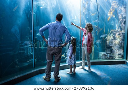 Happy family looking at fish tank at the aquarium - stock photo