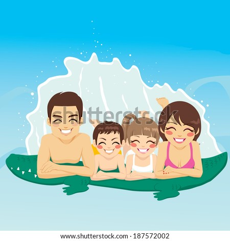 Happy family lying down on crocodile tube at swimming pool together smiling - stock photo