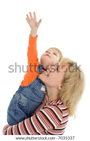 happy family mother and baby show hand up over white background - stock photo