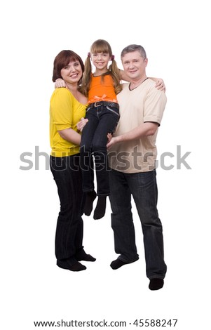 Happy family. Mother and father are holding a little daughter. Woman, man and girl are standing  and smiling  on the floor and posing happily on white background. - stock photo