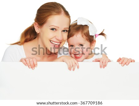 happy family mother child daughter with blank white poster isolated