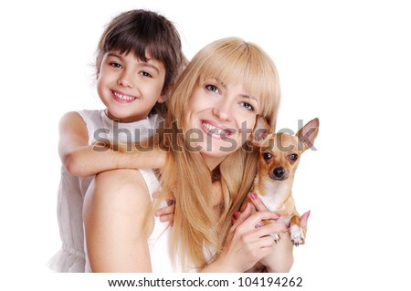 Happy family mother daughter and chihuahua isolated on white - stock photo