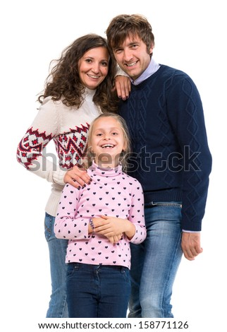 Happy family. Mother, father and daughter posing on a white background - stock photo