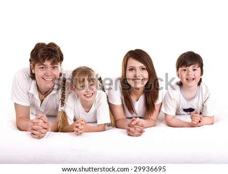 Happy family: mother, father, daughter, son. Isolated.