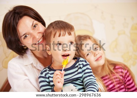 happy family , mother with daughter and son - stock photo