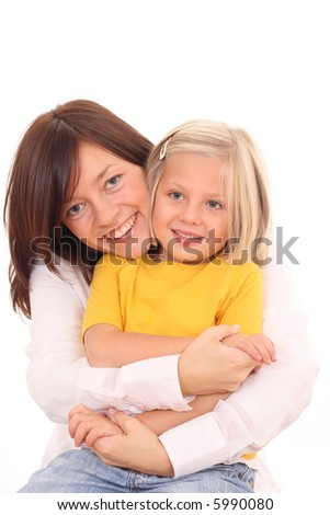 happy family - mother with son and daughter isolated on white - stock photo