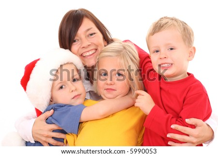 happy family - mother with sons and daughter isolated on white