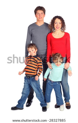 happy family of four full body