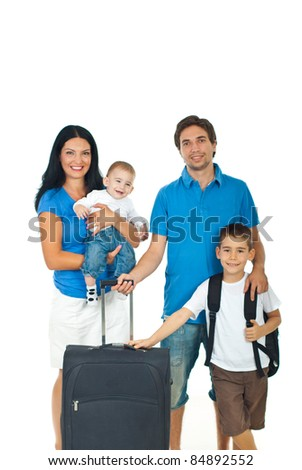 Happy family of four members ready for travel isolated on white background - stock photo