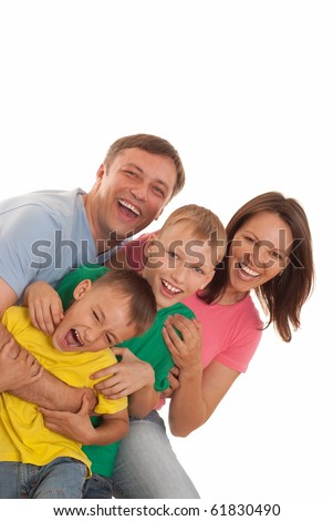 happy family of four on a white - stock photo