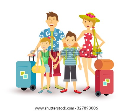 Happy family of parents and children travel summer vacation with suitcase, people group illustration in flat art style. - stock photo