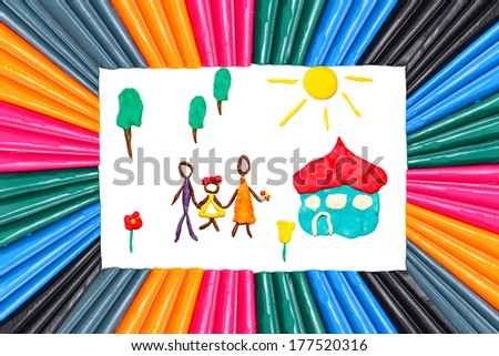Happy family on a blossoming meadow near the own house (objects are executed from color plasticine) Located in a plasticine frame. Isolated on white  - stock photo