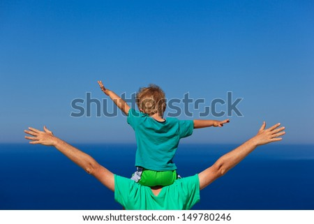 happy family on sea vacation - stock photo