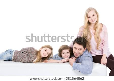 Happy family on white background. - stock photo