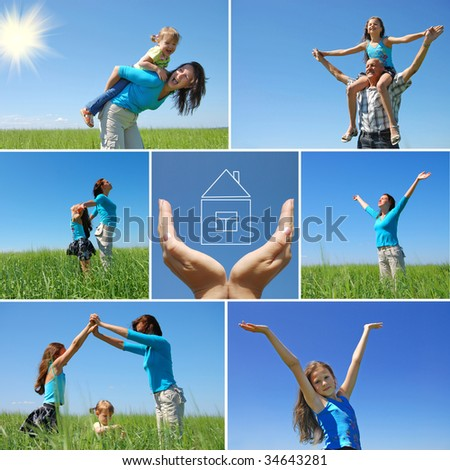 happy family outdoor in summer - collage - stock photo