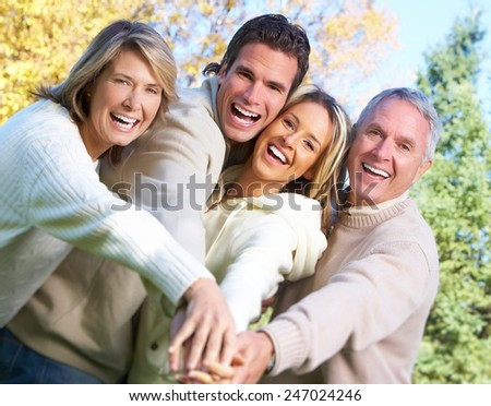 Happy family over park nature background. Recreation - stock photo
