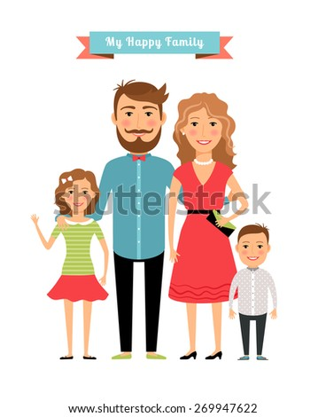 Happy family. Parents and kids. Daughter and father, mother and girl and son - stock photo
