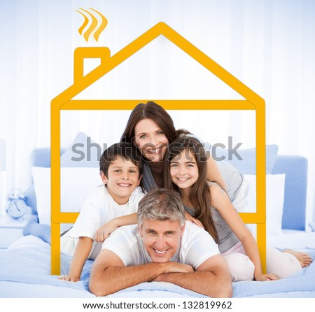 Happy family portrait in bed framed by yellow house illustration