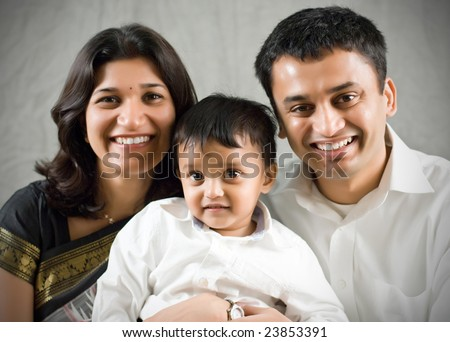 Happy family portrait- Indian Ethnicity - stock photo