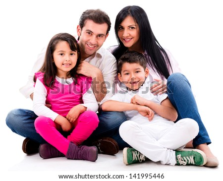 Happy family portrait smiling - isolated over a white background - stock photo