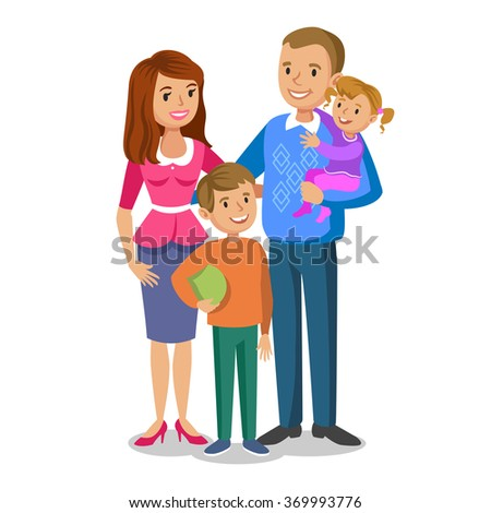 Happy family portrait, smiling parents and kids. Concept happy family, family love.  - stock photo